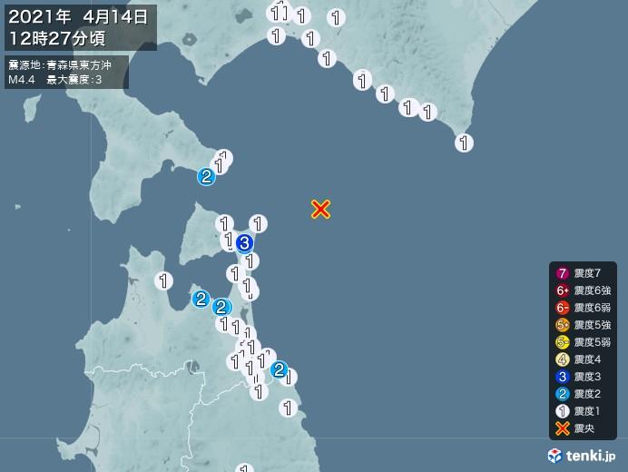 地震情報(2021年04月14日12時27分発生)