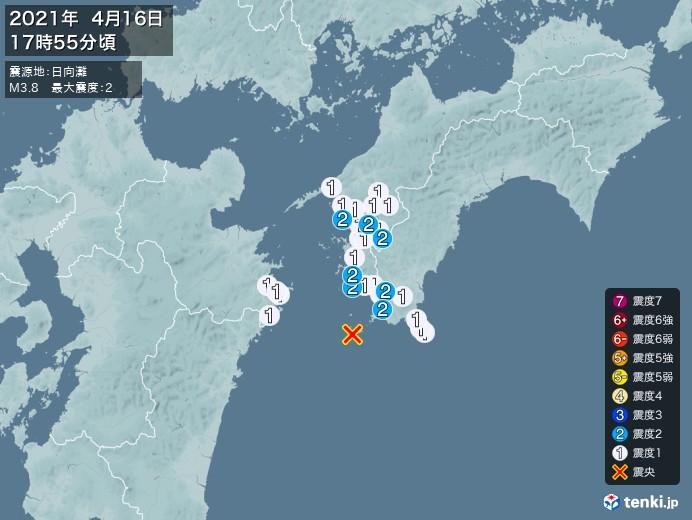 地震情報(2021年04月16日17時55分発生)
