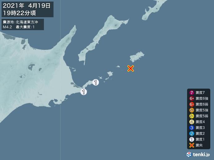 地震情報(2021年04月19日19時22分発生)