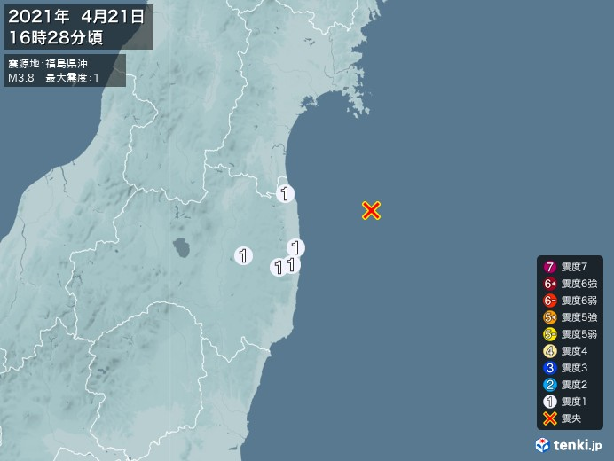 地震情報(2021年04月21日16時28分発生)