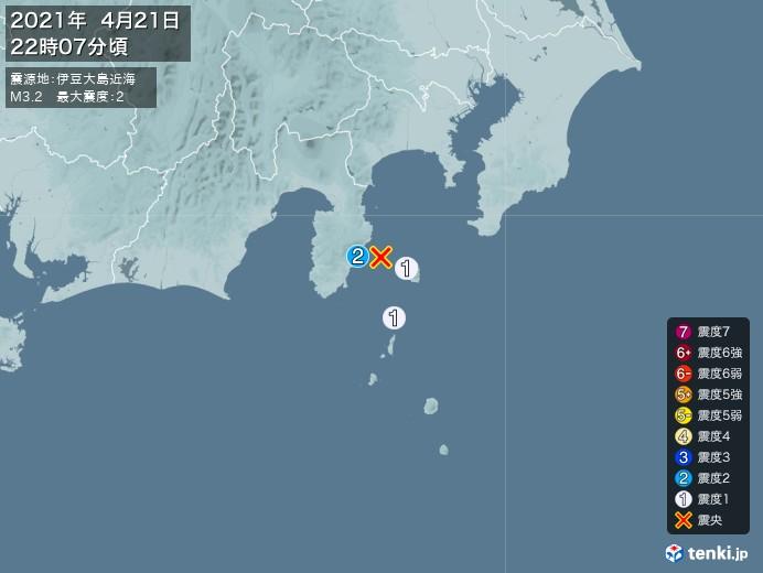 地震情報(2021年04月21日22時07分発生)