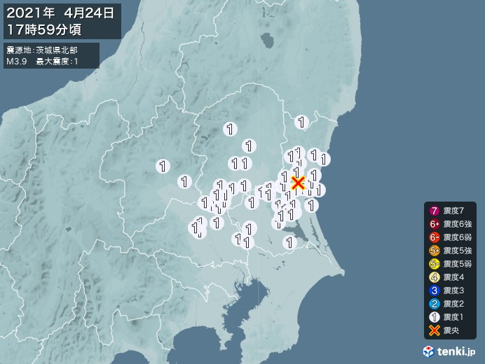地震情報(2021年04月24日17時59分発生)