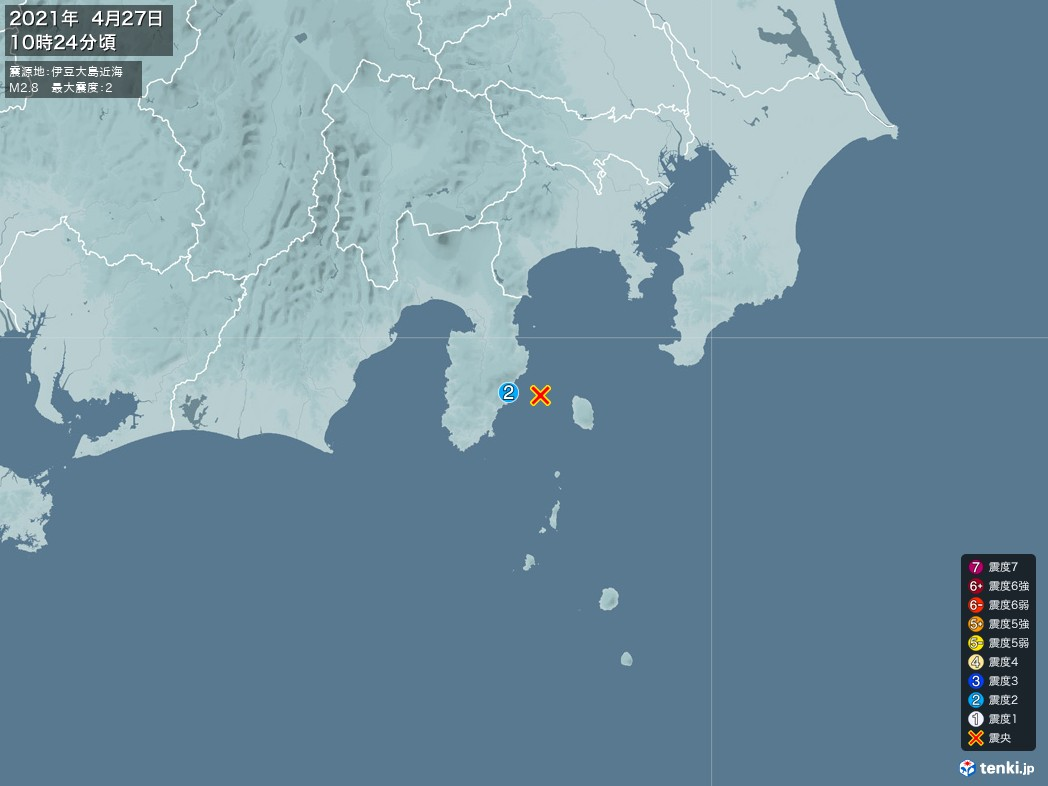 地震情報 2021年04月27日 10時24分頃発生 最大震度:2 震源地:伊豆大島近海(拡大画像)