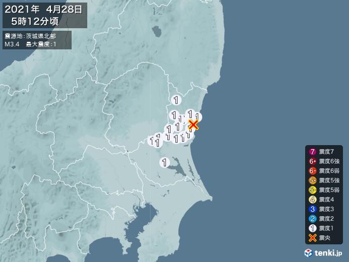 地震情報(2021年04月28日05時12分発生)