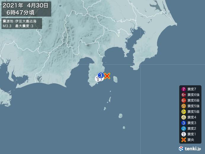 地震情報(2021年04月30日06時47分発生)