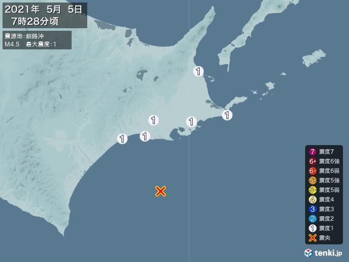 地震情報(2021年05月05日07時28分発生)