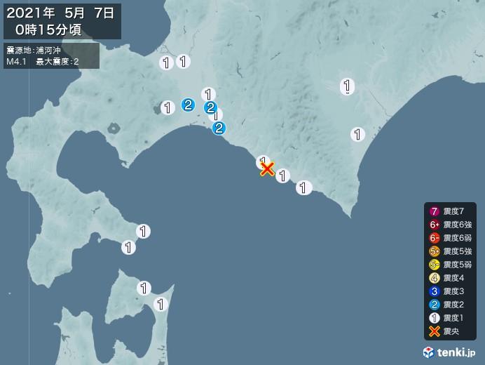 地震情報(2021年05月07日00時15分発生)