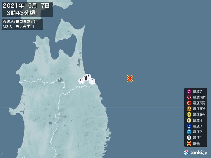 地震情報(2021年05月07日03時43分発生)