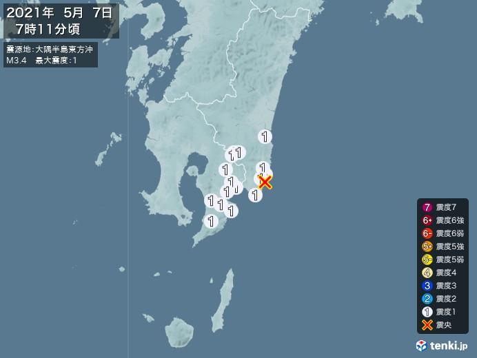 地震情報(2021年05月07日07時11分発生)