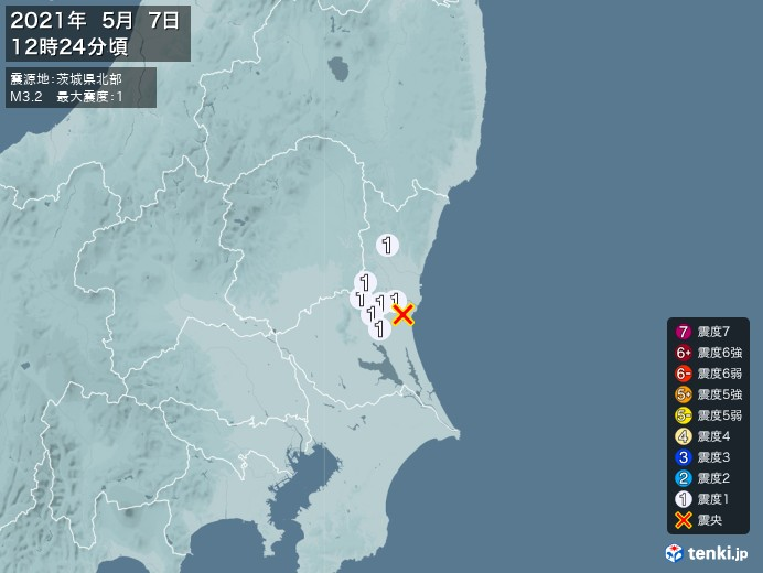 地震情報(2021年05月07日12時24分発生)