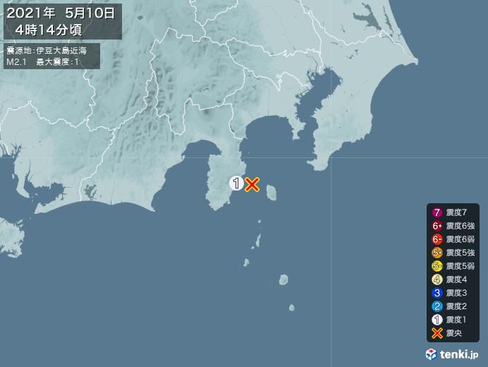 地震情報(2021年05月10日04時14分発生)