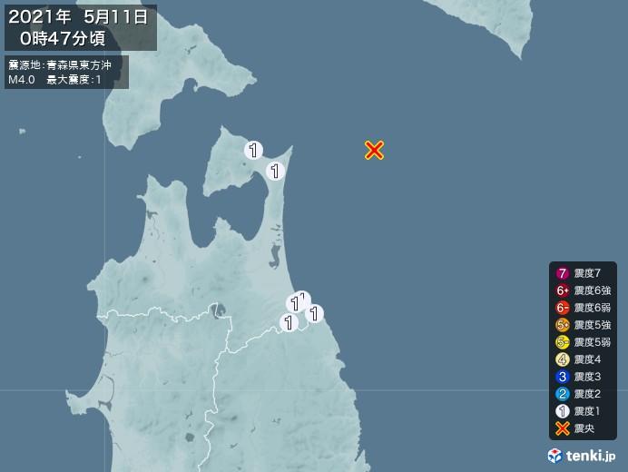 地震情報(2021年05月11日00時47分発生)