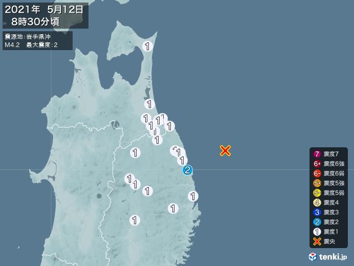 地震情報(2021年05月12日08時30分発生)