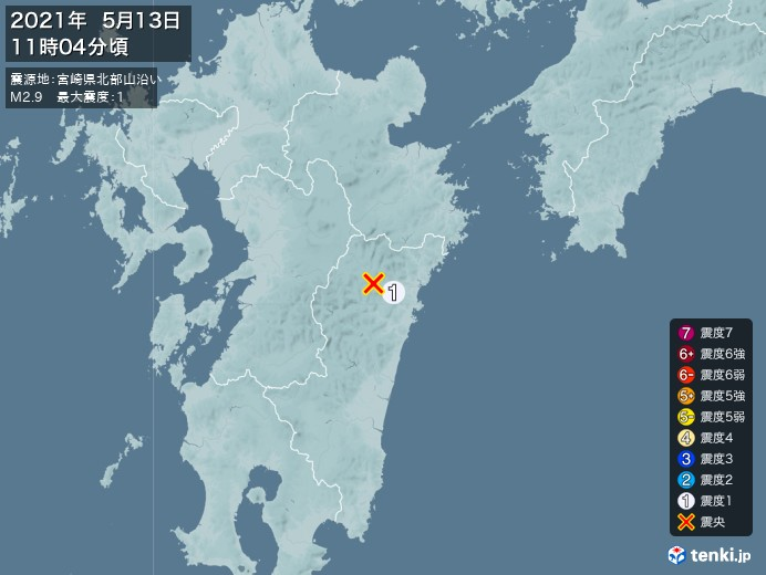地震情報(2021年05月13日11時04分発生)