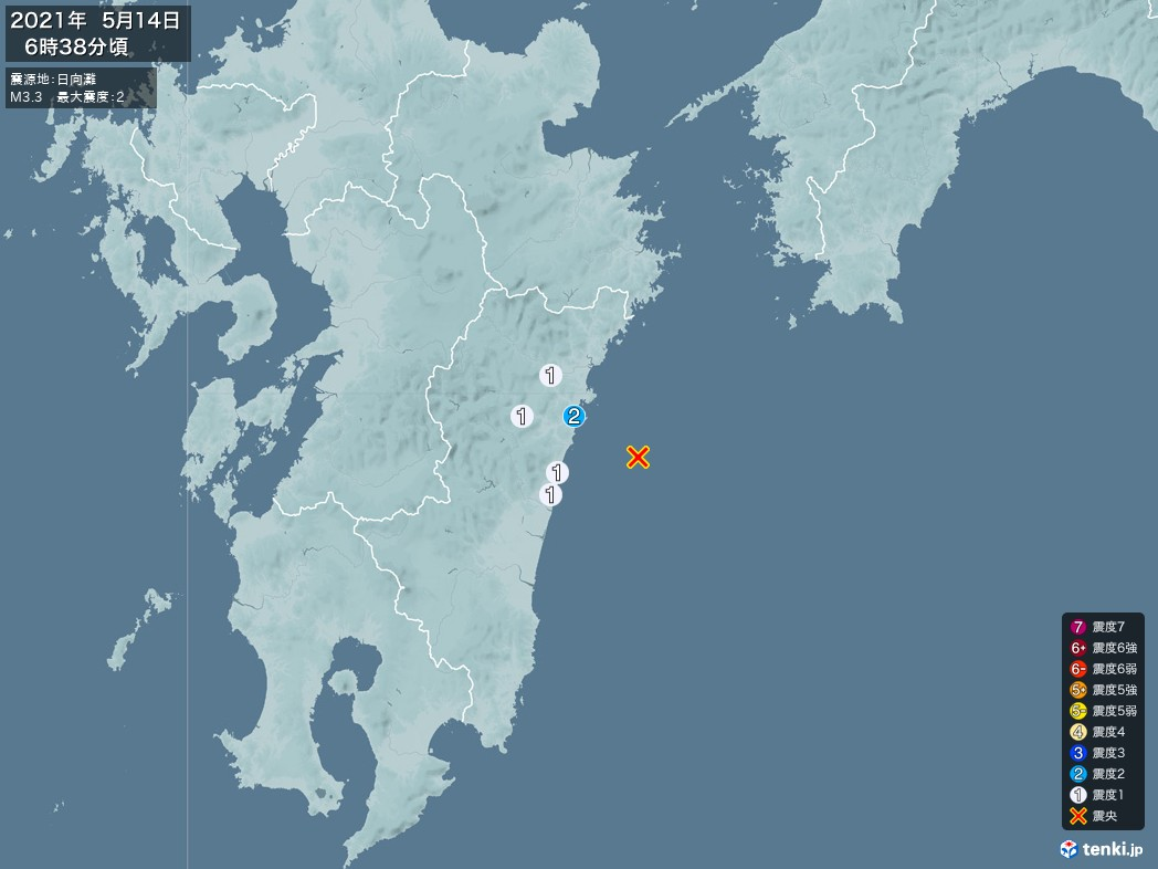 地震情報 2021年05月14日 06時38分頃発生 最大震度:2 震源地:日向灘(拡大画像)