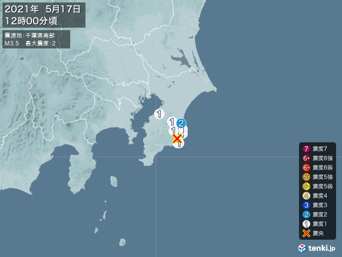 地震情報(2021年05月17日12時00分発生)