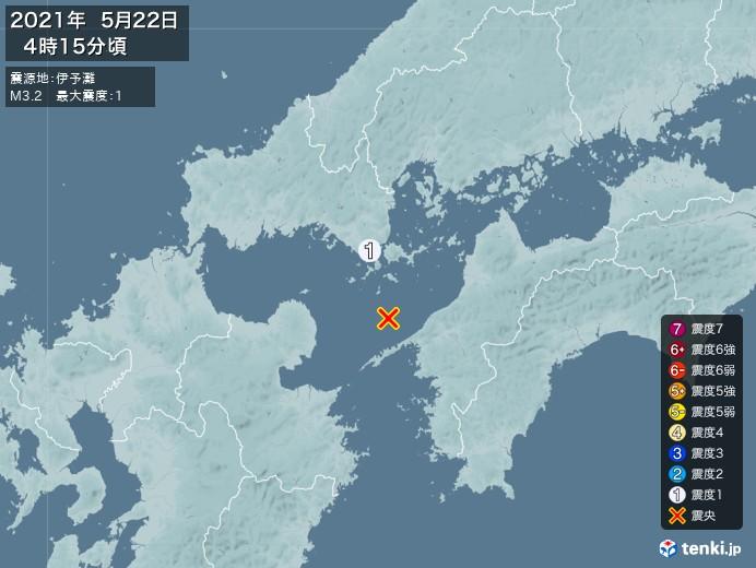 地震情報(2021年05月22日04時15分発生)