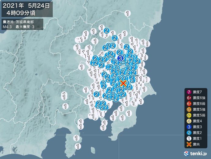 地震情報(2021年05月24日04時09分発生)