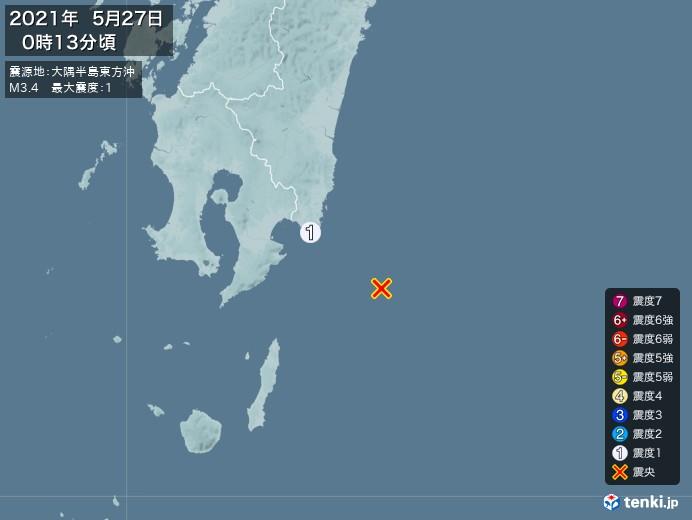地震情報(2021年05月27日00時13分発生)