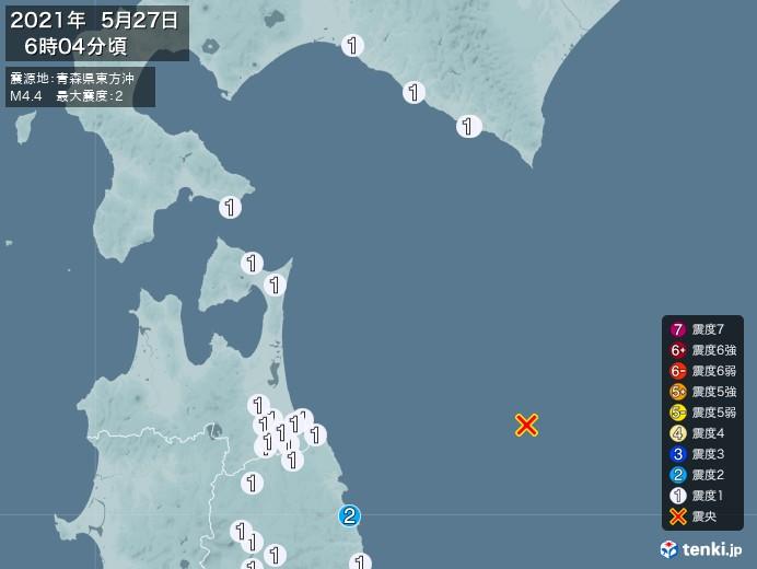 地震情報(2021年05月27日06時04分発生)