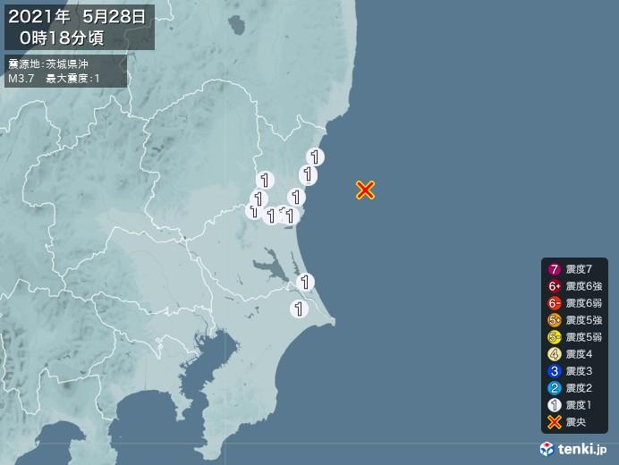 地震情報(2021年05月28日00時18分発生)