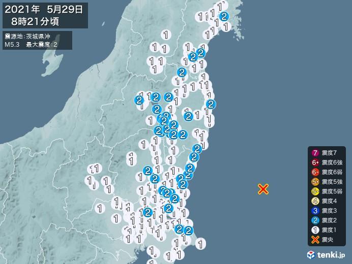 地震情報(2021年05月29日08時21分発生)