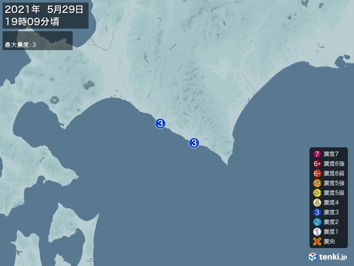 地震情報(2021年05月29日19時09分発生)
