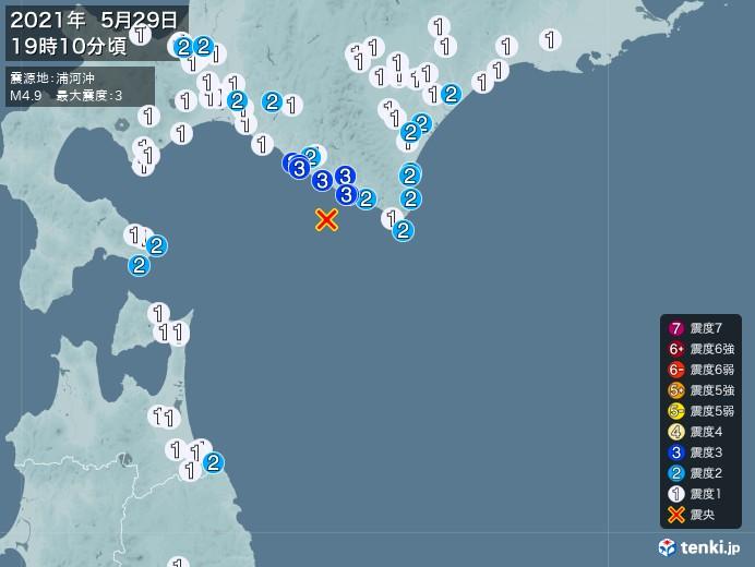 地震情報(2021年05月29日19時10分発生)