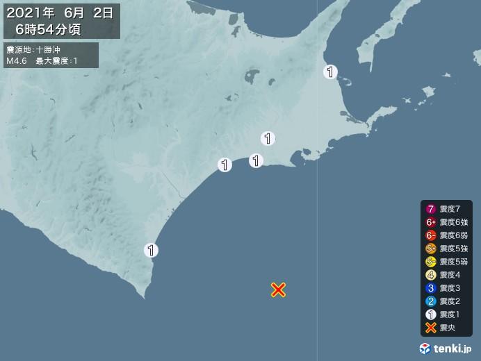 地震情報(2021年06月02日06時54分発生)