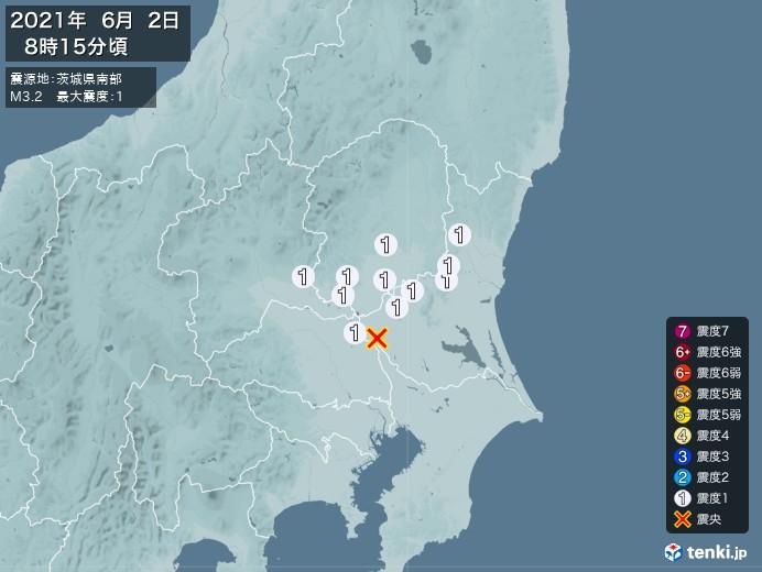 地震情報(2021年06月02日08時15分発生)