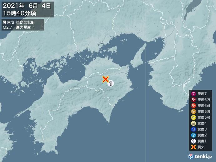 地震情報(2021年06月04日15時40分発生)