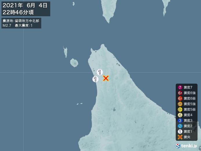 地震情報(2021年06月04日22時46分発生)