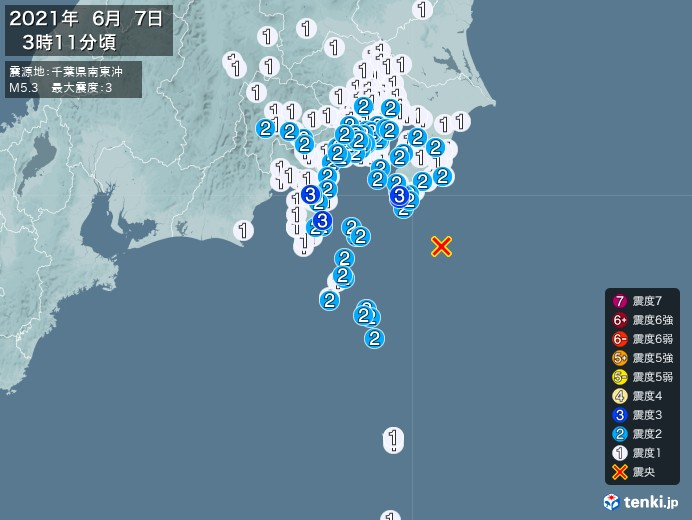 地震情報(2021年06月07日03時11分発生)