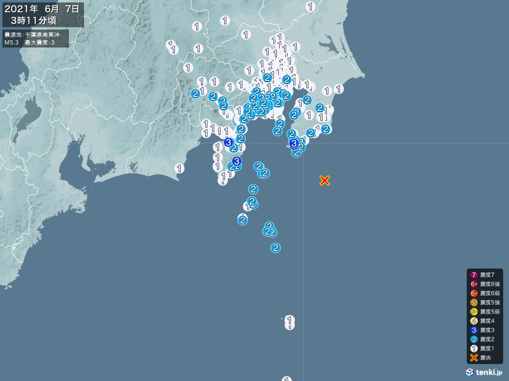 地震情報 2021年06月07日 03時11分頃発生 最大震度:3 震源地:千葉県南東沖(拡大画像)