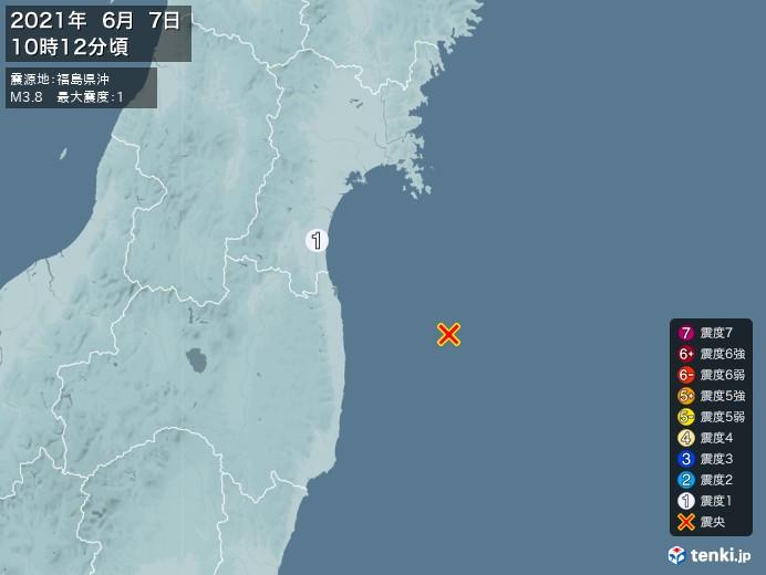 地震情報(2021年06月07日10時12分発生)