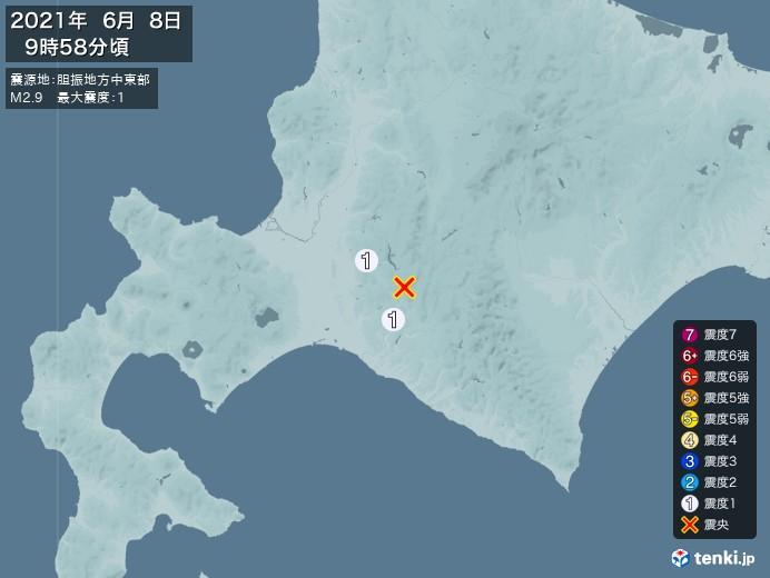 地震情報(2021年06月08日09時58分発生)