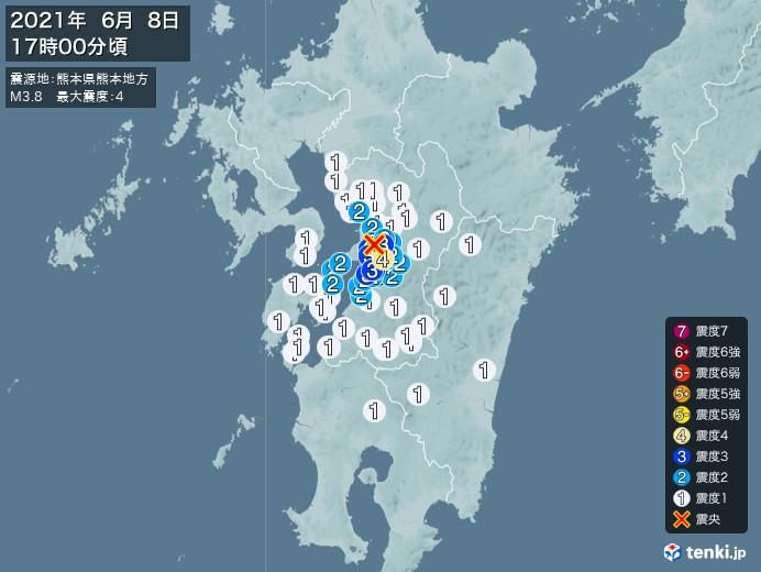 地震情報(2021年06月08日17時00分発生)
