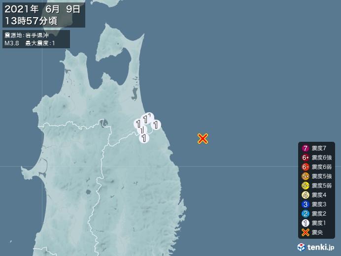 地震情報(2021年06月09日13時57分発生)