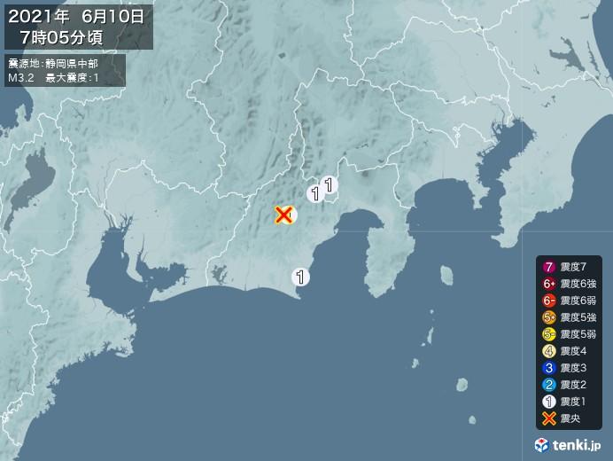 地震情報(2021年06月10日07時05分発生)