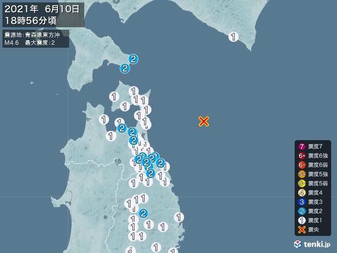 地震情報(2021年06月10日18時56分発生)