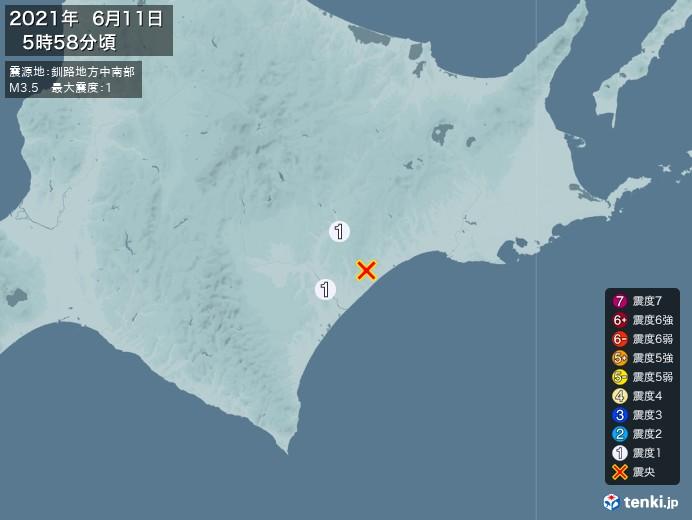 地震情報(2021年06月11日05時58分発生)