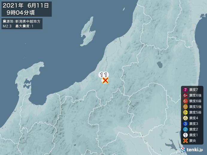 地震情報(2021年06月11日09時04分発生)