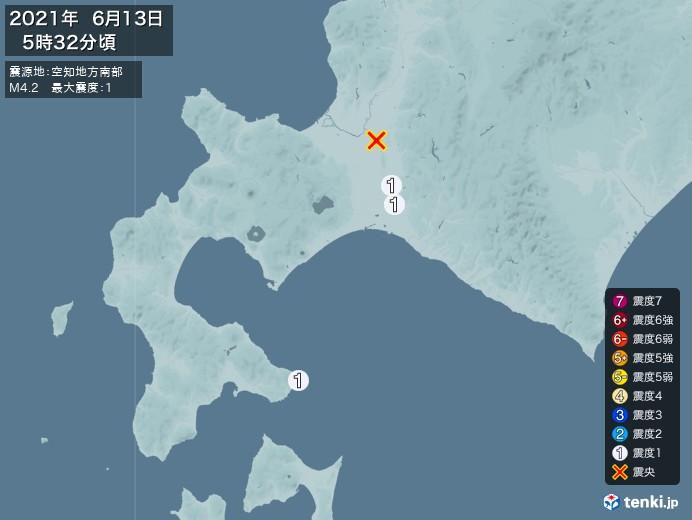 地震情報(2021年06月13日05時32分発生)