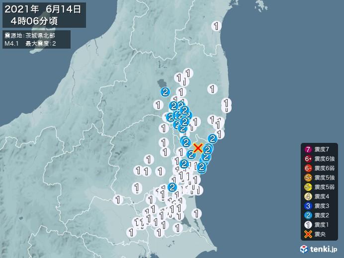 地震情報(2021年06月14日04時06分発生)
