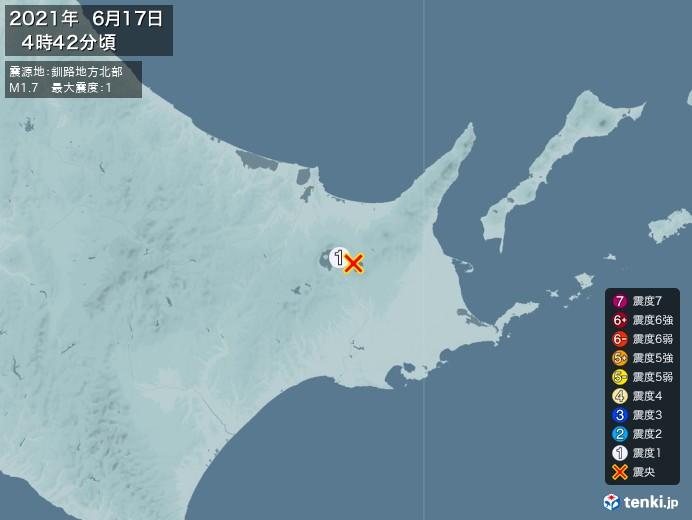 地震情報(2021年06月17日04時42分発生)