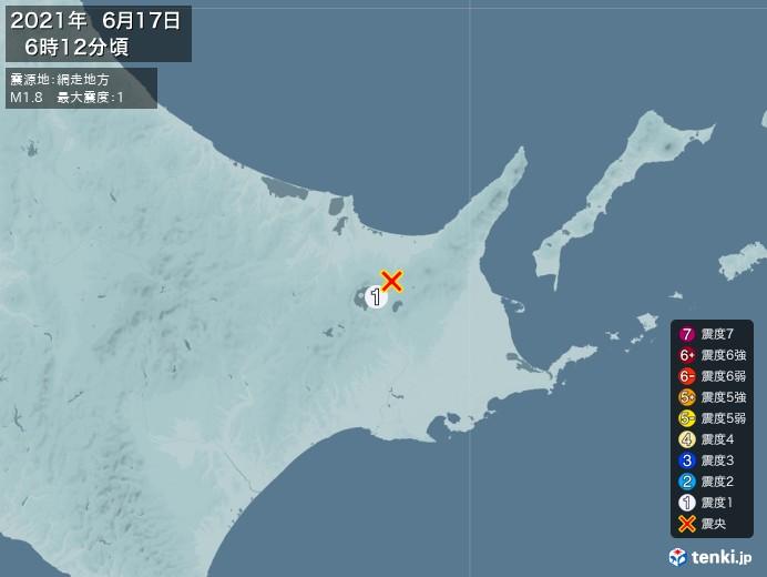 地震情報(2021年06月17日06時12分発生)