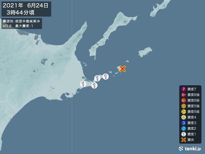 地震情報(2021年06月24日03時44分発生)