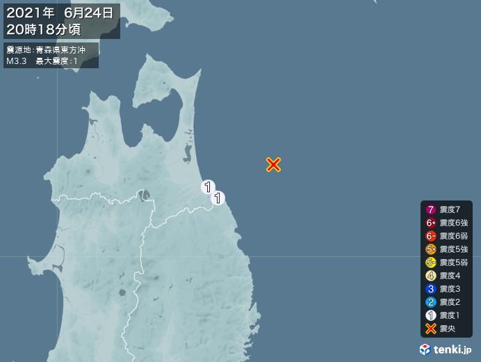 地震情報(2021年06月24日20時18分発生)