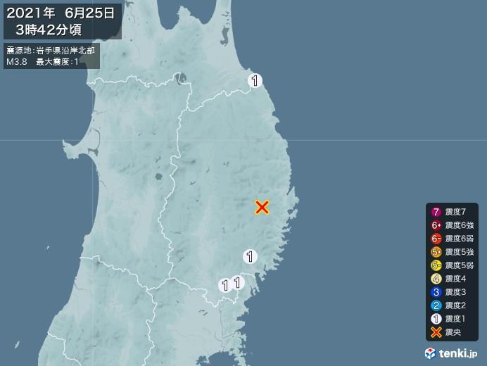 地震情報(2021年06月25日03時42分発生)