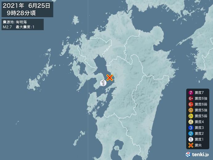 地震情報(2021年06月25日09時28分発生)